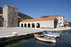 Stone architecture in settlement Ston. Village Mali Ston near Dubrovnik on Peljesac peninsula in Croatia Stock Image