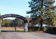 Stone archway at entrance to Masonic Cemetery, Canyonville, Oregon Stock Photography