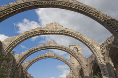 Stone Arcs and Ruins church. In Spain Stock Photography