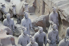 Stone army soilders statue, Terracotta Army in Xian, China Stock Photo