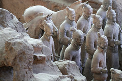Stone army soliders with horse statue, Terracotta Army in Xian, China Stock Photography