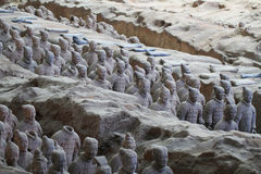 Stone army soliders statue, Terracotta Army in Xian, China Royalty Free Stock Photography