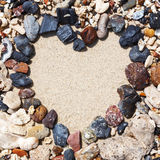 Stone arrangement as heart frame on the beach Royalty Free Stock Images