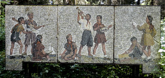 Stone artwork in USSR heritage park in Grutas, Lithuania Royalty Free Stock Images