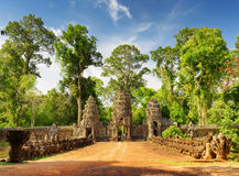 Stone Asuras on bridge leading to Preah Khan temple in Angkor Stock Photo