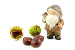 Stone autumn doll with chestnuts Stock Photos