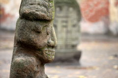 Stone Aztec gods. Old  stone Aztec gods close to Royalty Free Stock Photo