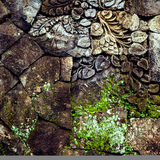 Stone background with floral colorful pattern for interesting design Royalty Free Stock Photography