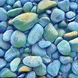 Stone background with round colorful pebbles from the sea beach. Digital illustration in vivid blue color. Stock Photography
