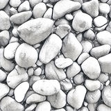 Stone background with round colorful pebbles from the sea beach. Digital illustration in white and grey. Stock Image