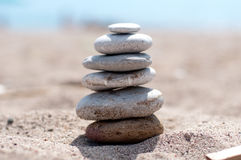 Zen stones on the beach  Royalty Free Stock Photo