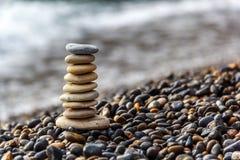 Stone balance in sunrise Royalty Free Stock Images