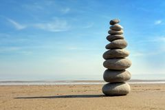 Stone balance. Zen stone balance on the beach Stock Photography