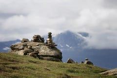 Stone balancing sculptures Royalty Free Stock Photos