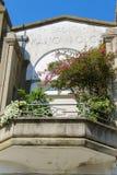 Stone balcony with decorative plants in Viareggio, Italy Stock Photos