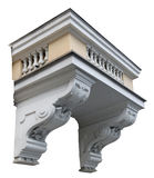 The stone balcony of the residential building is issued empire s Stock Photo