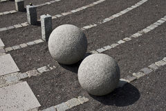 Stone balls. Balls - sculptures in Stockholm (Sweden Royalty Free Stock Photography