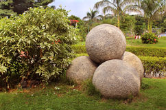 Stone balls at a park Royalty Free Stock Photography