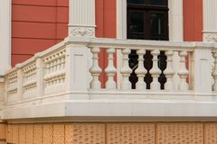 Stone balusters on balustrades. Balusters railing on the veranda of the building stock images