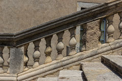The stone balustrade. Stone balustrade in front of the cathedral of Girona, Spain Royalty Free Stock Images