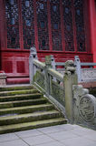 Stone balustrade before latticed windows,China Royalty Free Stock Image