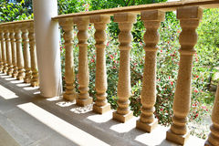 Stone balustrade. Stone railing against the background of flowers feijoa Royalty Free Stock Photos