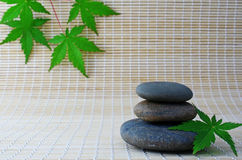 Stone on bamboo. Spa still life with maple leafs on bamboo small rug Royalty Free Stock Photography