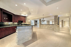 Stone bar and kitchen in basement Royalty Free Stock Photo