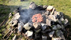Stone barbecue stock video footage