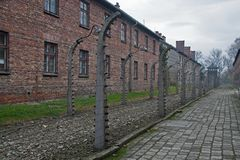 Stone barracks in the former concentration and extermination camp Auschwitz-Birkenau in Poland Royalty Free Stock Photography