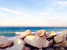 Stone barriers gate and the sea in piran slovenia Royalty Free Stock Image