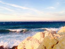 Stone barriers gate and the sea in piran slovenia Royalty Free Stock Photography