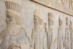 Stone bas-relief in ancient city Persepolis Royalty Free Stock Images