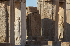 Stone bas-relief in the ancient city Persepolis Royalty Free Stock Images