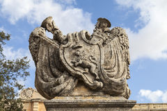 Stone bas-relief with lion before City Gate to the medieval town. Mdina, Malta , Europe Stock Images