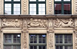 Stone bas-reliefs of Gdansk stock photography
