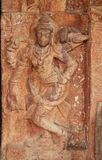 Stone bas-reliefs on the walls the temple complex Hemakuta hill in Hampi, Karnataka, India. stock photos
