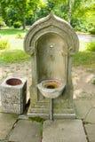 Stone basin for holy water in the Shipka Monastery Stock Photos