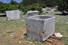 Stone basins for olive oil Royalty Free Stock Photos