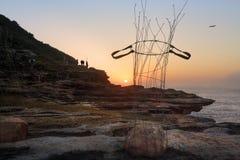 Stone Baskets sculpture along the coastal walk Bondi Stock Photo