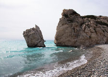 Stone in the bay of the Mediterranean. Cyprus. Birthplace of Aph Royalty Free Stock Photo