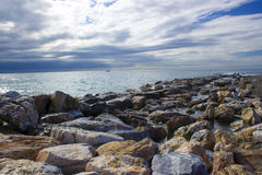 Stone beach in Almunecar Royalty Free Stock Photography
