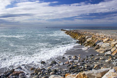Stone beach in Almunecar, Andalusia Royalty Free Stock Images