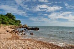 Stone beach and blue sky. In Chantaburi thailand royalty free stock photography