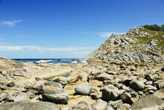 Stone beach on Cies Islands in Atlantic, Spain Royalty Free Stock Photography