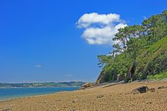 Stone beach, Finistere, Brittany, France Royalty Free Stock Photo
