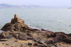Stone beach of gulangyu island Royalty Free Stock Image