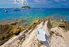 Stone beach of Island Hvar Royalty Free Stock Photo