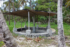 A stone beach shelter in the windward islands Royalty Free Stock Photo