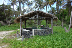 A stone beach shelter in the windward islands Royalty Free Stock Photography